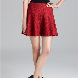 Free People Red Leopard Chenille Mini Skirt Sz 4